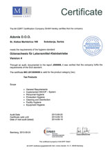 GLK sertifikat - Adonis d.o.o. Sokobanja
